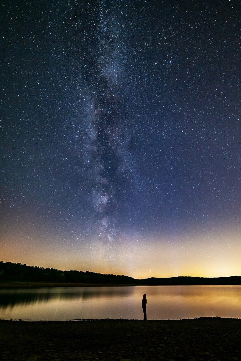 milky way, human, lake